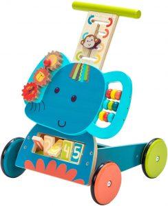 Ce chariot de marche en bois a de nombreux jeux amusants, il représente un éléphant.