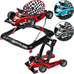 Le trotteur voiture IBSTYLE est à la fois un trotteur et un pousseur bébé.