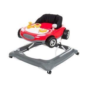 Ce trotteur pour bébé est en forme de voiture.