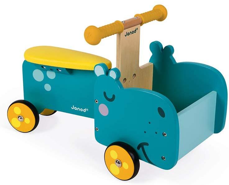 Le porteur Janod hippopotame dispose d'un coffre pour que votre enfant y installe ses jouets.