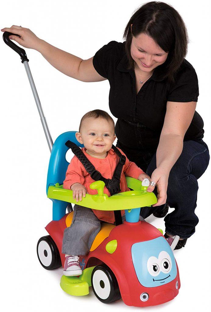 Le porteur Smoby maestro fait également jouet à bascule, pousseur bébé et poussette.